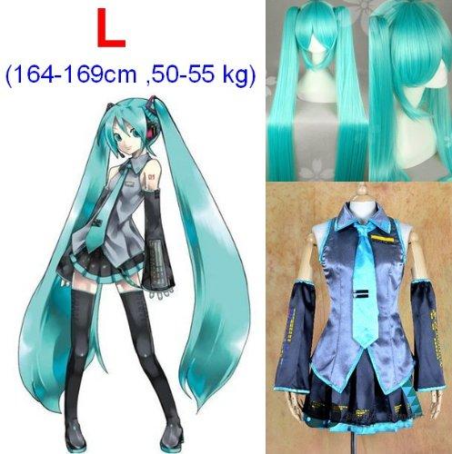 e Cosplay Kostüme,Größe L(164-169cm, 50-55 kg)+Vocaloid Miku Hatsune Perücke 120cm (Hatsune Miku Kostüme)