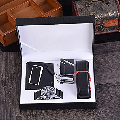 Souarts-Herren-Geschenkset-mit-Armbanduhr-Geldbrse-Grtel-Geschenkset-fr-Herren-Schwarz
