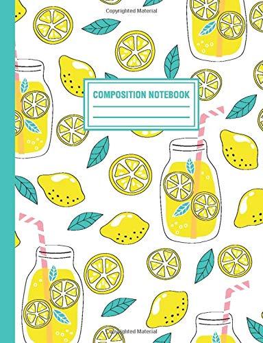 Composition Notebook: Lemonade Lemons Pattern Composition Book For Students College Ruled (Blumen Jars In Mason)