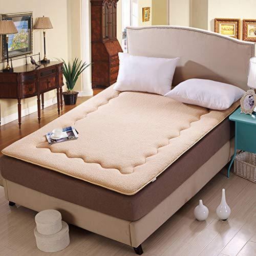 ZYLHC Futonmatteratze, Schlafen Dick Weich Tatami Floor Mat, Zusammenklappbar Japaner Kissen Matratze Wohnheim Futonmatte-beige 90x200cm(35x79inch) (Roll-up Strand, Mat)