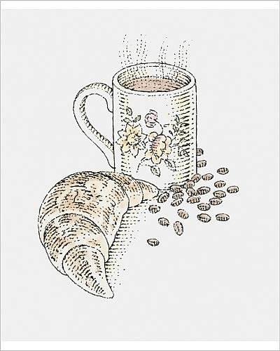 photographic-print-of-illustration-of-steaming-mug-of-coffee-croissant-and-coffee-beans