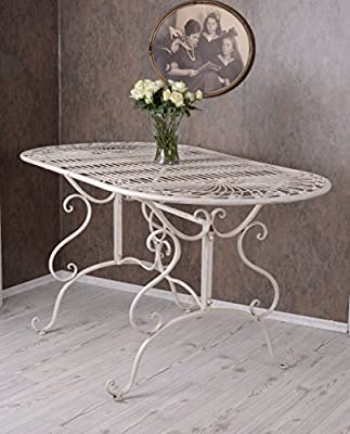 Garden Table / Dining Room Table Eisentisch Metalltisch table for the garden, terrace or Palazzo Exclusive Home Beautiful Antique White - low-cost UK dining table shop.
