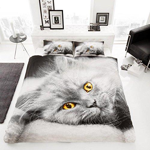 Gaveno Cavailia Premium Kollektion, Bettwäsche-Set aus Polyester, Muster: 3D Katze, Multi, Einzelbett -