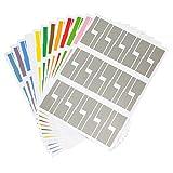 Gydandir 24 Blätter selbstklebende Kabel Etiketten wasserdicht reißfest Kabel Label Aufkleber Tags Kabel Label Aufkleber und für Laserdrucker 720 Stück insgesamt, 12 Farben
