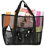 Exerz EX-BB53 Strandtasche, praktische XL Netztasche für den Sommer, multifunktional, für Pool-Spaß, Kurztrips, tragen alle Kleidung, Spielzeug, Sonnencreme,Kinder (Schwarz)