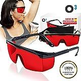 O³ Gafas Laser Depilación - Gafas de protección para depilación HPL/IPL/Luz Pulsada Con Funda - Gafas De Seguridad Para Protección de Ojo 1 Color Rojo