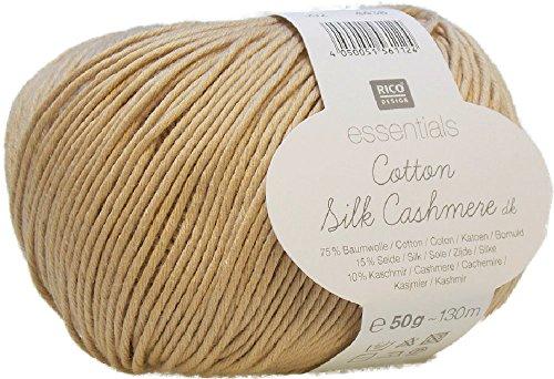 Rico-Design Essentials Cotton Silk Cashmere dk 50 g zum Häkeln und Stricken - neues Sommergarn mit Baumwolle Seide und Kaschmir 002 beige (Silk Häkeln)