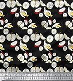 Soimoi Schwarz Schweres Canvas Stoff & Banana Obst Dekor