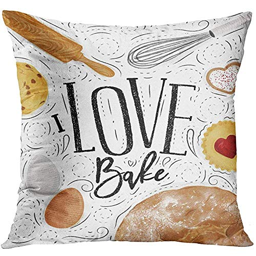 Square Rolling Pin (Deglogse Cushion Covers, Throw Pillow Cover Bakery with Illustrated Cookie Egg Whisk Rolling Pin Bread in Vintage Lettering I Love Bake Drawing Decorative Pillow Case Home Decor Square es Pillowcase)