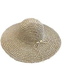 Eeayyygch Sombrero de Vacaciones Sombrero de Paja Sombrero Redondo Grande  Sombrero de Playa Sombrero de Sol Simple (Color   - 2d9ba3fbe4d