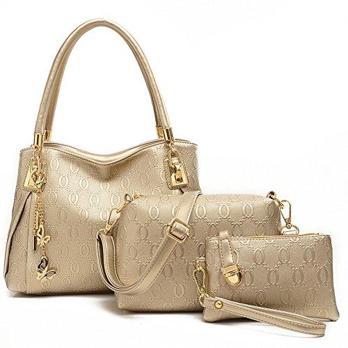 Oderola 3-teiliges Damen Handtaschenset Elegant Leder Handtaschen Schulter Beuteltote Schultaschen Hobo Set Gold
