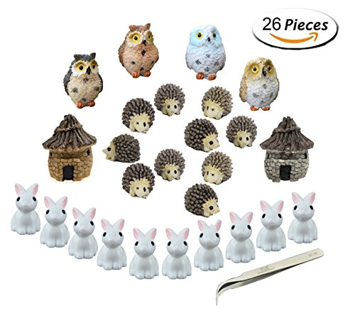 Miniature garden decorations, nicnow 26 pieces Miniature ornaments set Fairy garden figurines accessories for DIY doll house pot decoration, with 1 piece pliers