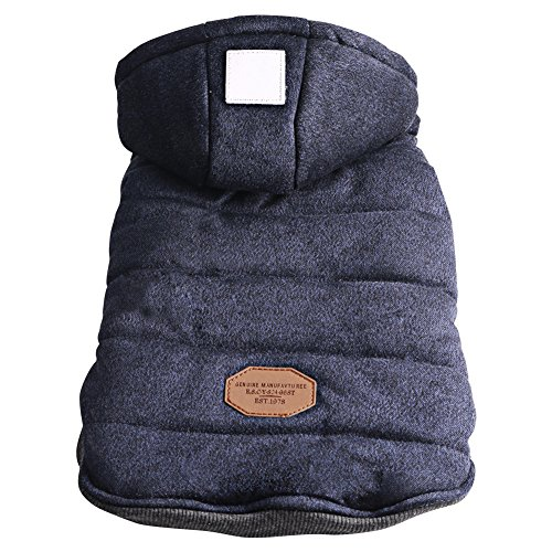 Hund Winter Weste Mit Kapuze Sweatshirts Puffer Hund Mantel Welpen Kleine Pet Warme Kleidung (Blau, XL) (Mesh-pj)