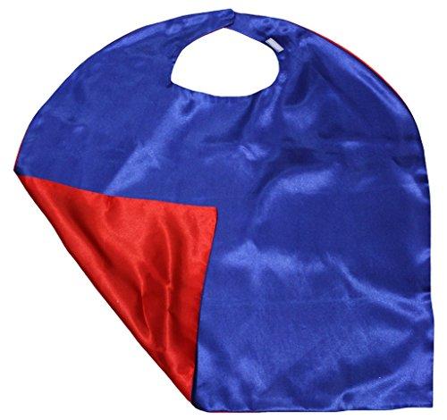 Petitebelle Doppel Farbe Satin Cape Unisex-Kleidung-Kostüm-Zusatz 3-8y Einheitsgröße Blau Rot