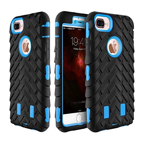 iPhone 7 Plus Coque, Lantier Motif Tire 2 en 1 Combo Heavy Duty antichoc Anti Drop robuste à double couche de couverture de protection hybride pour iPhone 7 Plus (5,5 pouces) vert Tire Pattern Sky Blue
