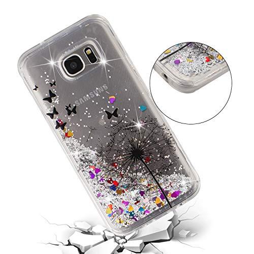 ChoosEU Silicone Glitter Cover per Samsung Galaxy S7 Edge Trasparenti Disegni Brillantini Colorate Belle TPU Morbido Antiurto Gomma Custodia Brillante Bumper Case Chiaro Protezione - Dente Leone