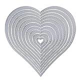 10 Stück Metall Herz Form Stanzschablonen Metall Schneiden Schablonen Stanzformen Silber für DIY Scrapbooking Album, Schneiden Schablonen Papier Karten Sammelalbum Deko