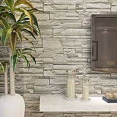 Idea Regalo - HANMERO- Carta da parati 3d con motivo muro di mattoni, Grigio, 10m*0.53m, 4 Colori a scelta
