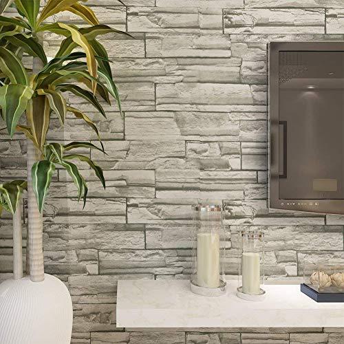 HANMERO® Murales de pared papel pintado imitación ladrillo piedras papel de pared dormitorios/salón/hotel/fondo de TV/color color gris,0.53M*10M