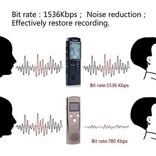 Digitales Diktiergerät,AngLink 1536kbps 8GB Digitalrecorder Diktiergerät Audio Voice Recorder Aufnahmegerät mit LCD Display MP3 Player Spracherkennung Lautsprecher für Büro Schule Interviews