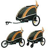 Tiggo Alluminio Rimorchio Porta-Bimbo per Bicicletta con 2 Diversi Set da Jogging con Sospensione 702-D04 Arancione