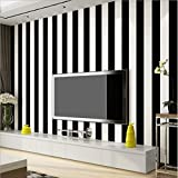 KeTian PVC-Tapete in moderner, minimalistischer Optik, vertikal gestreift, für Schlafzimmer oder Wohnzimmer. 0,53m x 10m = 5,3m², PVC, schwarz / weiß, 0.53m (1.73' W) x 10m(32.8'L)=5.3m2 (57 sq.ft)