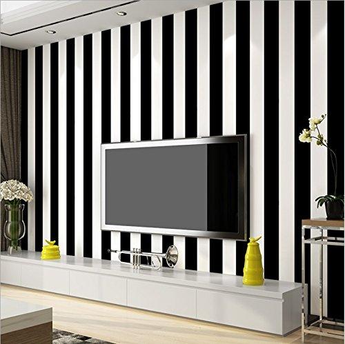 KeTian Papier peint moderne minimaliste rayé en PVC pour chambre à coucher et salon, PVC, noir/blanc, 0.53m (1.73' W) x 10m(32.8'L)=5.3m2 (57 sq.ft)
