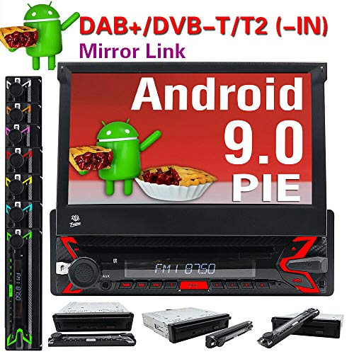 Android 9.0 Autoradio Single DIN 17,8 cm (7 Zoll) Touchscreen GPS Navigation In-Dash DVD Player Lenkradsteuerung 1 DIN Autoradio FM AM Bluetooth AUX FM USB SD MP3 MP4