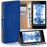 Sony Xperia M2 Hülle Blau mit Karten-Fach [OneFlow 360° Book Klapp-Hülle] Handytasche Kunst-Leder Handyhülle für Sony Xperia M2 / M2 Dual / M2 Aqua Case Flip Cover Schutzhülle Tasche