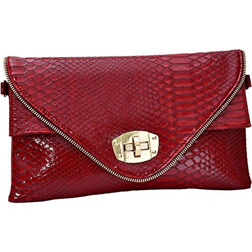 Womens intelligenter Tier Croc Druck Faux Leder Umschlag Handtaschen Geldbeutel (Faux Rot Croc)