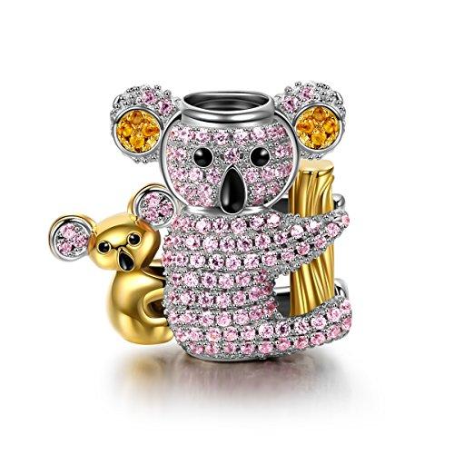 Ninaqueen koala donna bead charm argento sterling 925 compatibile con charm bracciale regali festa della mamma natale anniversario compleanno festa della mamma ragazza lei