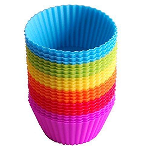 Leisial 24 x Wiederverwendbare Silikon Muffinförmchen,Muffin Cups Kuchenformen,Farbe Zufall