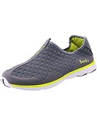 Desconocido LIEBE721 Hombres Zapatos Plano Verano Fiesta Zapatos de Agua Ocio Ligero Sneaker Playa Moda Ponerse Comodidad Zapatos de Malla Gris