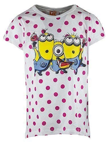 Mädchen Despicable Me Minions Party Polka-Punkte T-Shirt Baumwolle Top Größen from 2 to 9 Years - Weiß, 116/122cm (6-7 Years)