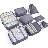 AMAYGA Organizer Valigia Set di 8,Organizzatori da Viaggio Cubi di Imballaggio lavanderia sacchetto dei bagagli Compressione Sacchetti Bag per i vestiti,Cosmetici,scarpe,Intimo (Grigio)