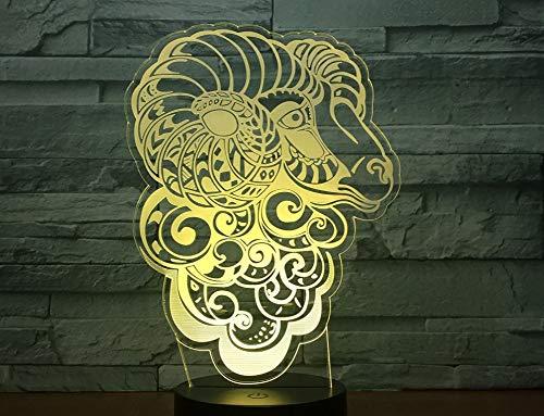 Abstrakte Kunst Ziege Schaf 3D Lichter 7 Farben Führen Nachtlichter Touch Usb Lichter Baby Schlaf Dekoration Nachtlichter Kinder Geschenke