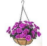 YOSPOSS künstlichen Blumenampel Blumenkasten kz9524-w771Outdoor Rot Azalea Bush Blume Terrasse Rasen Garten Blumenampel mit Kette Blumentopf, Gelb Outdoor Innen für Haus/Garten Dekoration