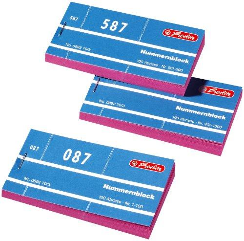 Herlitz 892703 Nummernblöcke 1-1000 Nummer 1-1000 10x100 Abrisse