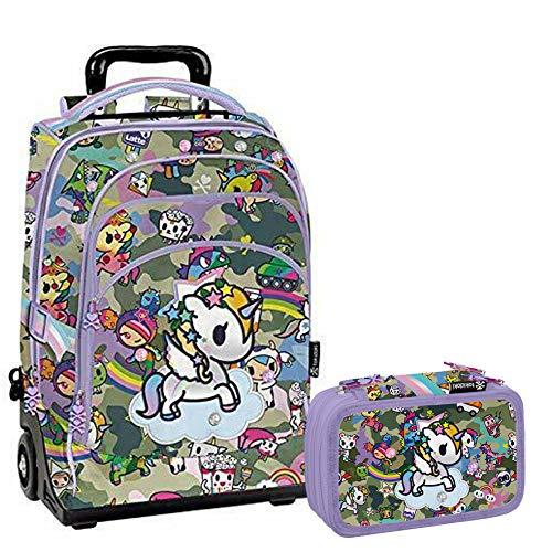 Tokidoki Unicorno Schoolpack Zaino Trolley + Astuccio 3 zip completo di cancelleria - scuola 2019-20