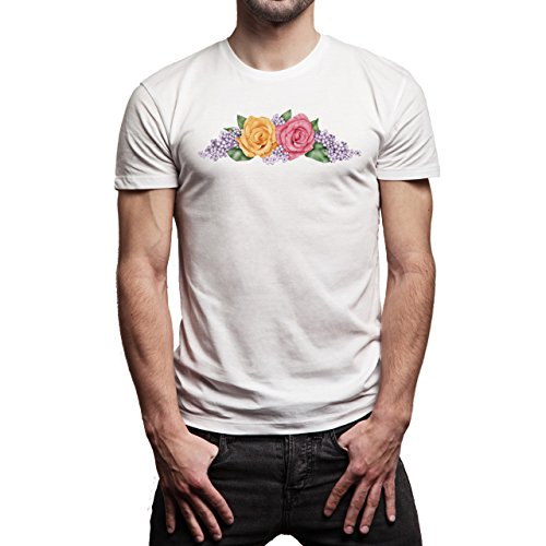 SWAG Two Rose Red And Yellow Herren T-Shirt Weiß