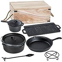 TecTake® Conjunto batería de cocina para camping de hierro fundido 9 piezas