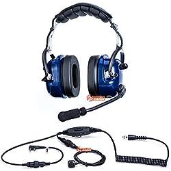 Zeadio® Cyanine Militar Anti ruido superior auricular de oído Auricular con supresión de störschall para 2pin Kenwood Baofeng Puxing Quansheng WEIERWEI WOUXUN HYT TYT–Walkie-Talkie LT de 3107LT-3188lt-3260LT de 3268LT de ropa informal LT de 6188