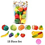 Zaidcollections Realistic Sliceable Fruits And Cutting Play Kitchen Set Toy (13 Pcs Set) With Various Fruits,Vegetables,Knife,Plate And Cutting Board For Kids,Multi Color.