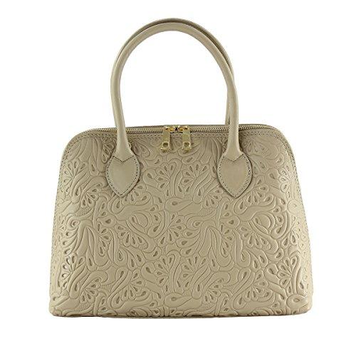 CTM sac à main pour femme avec fantasie floreal, pochette en cuir veritable et doux fait en Italie - 32x23x10 Cm