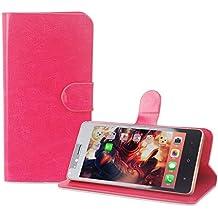 PREVOA Flip PU Funda Case Protictive para InnJoo Note Smartphone 5,5 Pulgadas - Hotpink -