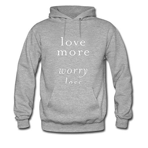 HGLee Printed DIY Custom love more worry less Women's Hoodie Hooded Sweatshirt Gray--2