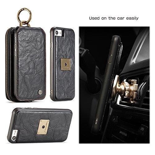 Wkae CaseMe Wallet Case mit abnehmbarem TPU PC Slim Back Case, Luxus Retro Serie Elegantes Leder Touchable Schirmleder für iPhone 7 ( Color : Brown ) Black