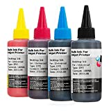 Non-OEM Universal Pigment and Dye Based Printer Ink Bottles for CISS or Refillable Cartridges 100ml B,C,M,Y