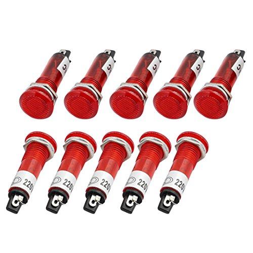 sourcingmap® 10 Stk AC 220V, 10 mm Montagebohrung Durchmesser runde Anzeige Pilot Licht Signallampe Rot