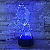 1 PACK, Für Dragon Ball 7 Farbwechsel 3D Bunte Nachtlicht Dekor Licht Stereoskopische Visuelle Illusion Lampe USB 3AA Batterie LED Lampe